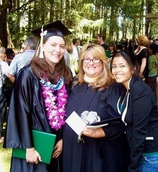 Me (far left), with Social Work professor Fiona Bullock (center)