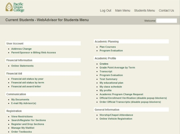 WebAdvisor Opening Screen