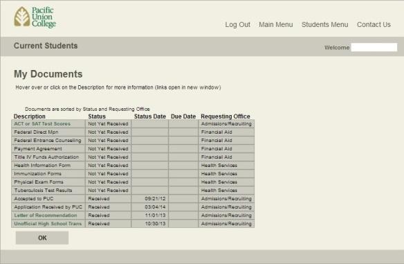 WebAdvisor My Documents