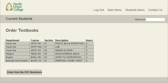 WebAdvisor Order Textbooks