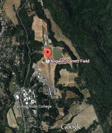 An aerial view of Angwin-Parrett Field, via Google Earth. Note PUC's main campus to the bottom left!