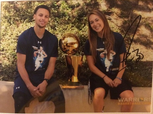 PUC Pioneer Jenna Pena with the NBA MVP and Champion Stephen Curry of the Golden State Warriors during the Stephen Curry Overnight Camp.